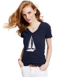 Tommy Hilfiger | Blue Sailboat Graphic Top | Lyst