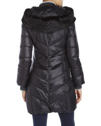 T Tahari - Black Faux Fur Trim Down Coat - Lyst