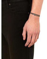 Bottega Veneta - Black Intrecciato Silver And Leather Bracelet for Men - Lyst
