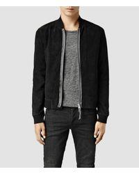 AllSaints - Black Touvier Leather Bomber Jacket for Men - Lyst