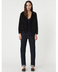 Jigsaw Black Astrakan Cropped Jacket