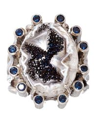 Stephen Dweck Blue Silver Druzy and Iolite Ring