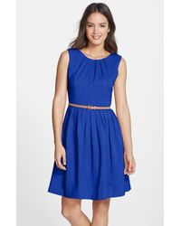 Ellen Tracy - Blue 'kenya' Belted Pleated Cotton Fit & Flare Dress - Lyst
