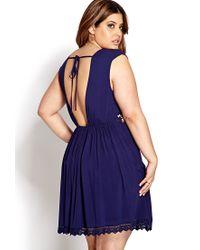 Forever 21 | Blue Femme Crochet-Trimmed Dress | Lyst