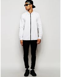 ASOS - Black White Shirt With Zip Through Front In Regular Fit - White for Men - Lyst