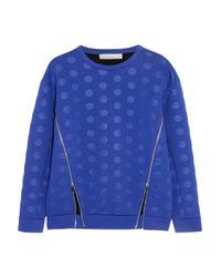 Stella McCartney - Blue Polka-Dot Scuba-Jersey Sweatshirt - Lyst