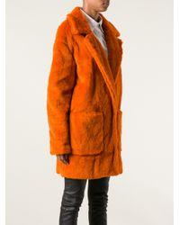 MSGM Orange Faux Fur Coat
