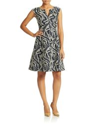 Adrianna Papell - Blue Zebra-Print Fit-And-Flare Dress - Lyst