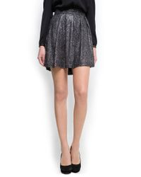 Mango - Black Glitter Pleated Skirt - Lyst