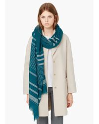 Mango | Blue Embroidered Cotton Scarf | Lyst