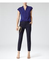 Reiss | Black Joanne Cropped Tailored Trousers | Lyst