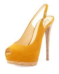 Giuseppe Zanotti | Yellow Sharon Suede Peep-Toe Slingback Sandal | Lyst