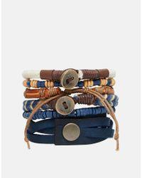 ASOS - Brown Leather Bracelet Pack In Blue for Men - Lyst