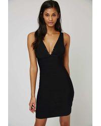 TOPSHOP Black Studded Contouring Bandage Dress