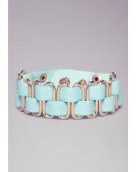 Bebe - Blue Woven Metal Bracelet - Lyst