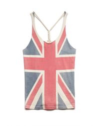 Forever 21 Blue Union Jack Knotted Tank