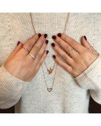 Alexa Leigh | Metallic Simple Leigh Pave Diamond Midi Ring, Silver | Lyst