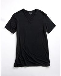 Calvin Klein | Black Micro Modal V-neck T-shirt for Men | Lyst
