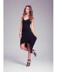 Bebe Black Solid High Low Dress Online Exclusive