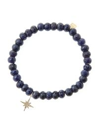 Sydney Evan - Blue Sapphire Rondelle Beaded Bracelet With 14K Gold/Diamond Small Butterfly Charm (Made To Order) - Lyst