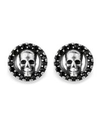 Platadepalo | Black Canalla Silver & Zircon Skull Earrings | Lyst