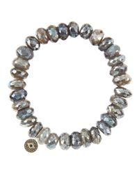 Sydney Evan - Yellow 10mm Mystic Labradorite Beaded Bracelet With 14k Gold/diamond Round Evil Eye Charm (made To Order) - Lyst
