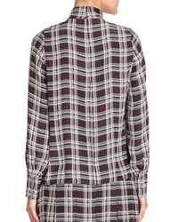 Mother Of Pearl - Red Allen Plaid High-neck Silk Blouse - Lyst