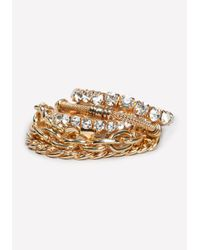 Bebe | Metallic Chain & Crystal Bracelet | Lyst