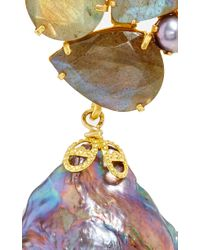 Bounkit Gray Convertible Keshi Pearl And Labradorite Earrings