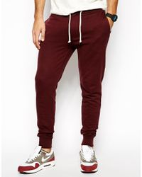 ASOS Red Skinny Joggers With Zip Fly And Button Detail for men