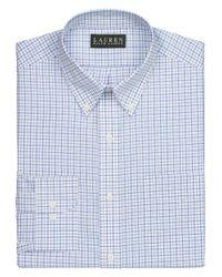 Lauren by Ralph Lauren - Non-Iron Slim-Fit White And Blue Check Dress Shirt for Men - Lyst