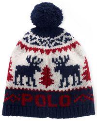 Polo Ralph Lauren Blue Reindeer Wool Pom Cap for men
