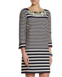 J.Crew - Blue Embellished Striped Cotton-Blend Canvas Mini Dress - Lyst