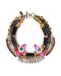 Venna | Multicolor Doll Eye Crystal Spike Threaded Necklace | Lyst