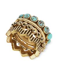 Lucky Brand | Metallic Goldtone Turquoise Stone Stack Ring | Lyst