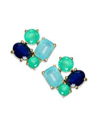 kate spade new york - New York Goldtone Blue Crystal Cluster Stud Earrings - Lyst