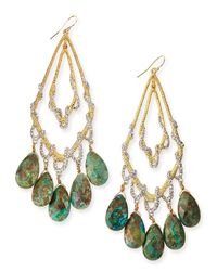 Alexis Bittar - Green Orbiting Teardrop Earrings With Chrysocolla & Pave Crystals - Lyst