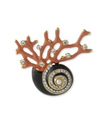 Kenneth Jay Lane | Multicolor Seashell And Branch Brooch | Lyst