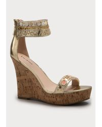 Bebe | Metallic Ilka Beaded Wedges | Lyst