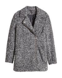 H&M | Gray Biker Coat In A Wool Blend | Lyst