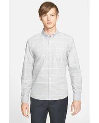Saturdays NYC - Gray 'crosby' Trim Fit Plaid Oxford Shirt for Men - Lyst