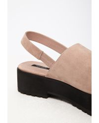 Forever 21 - Pink Faux Suede Slingback Sandals - Lyst