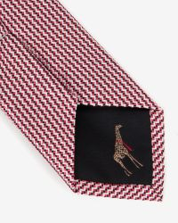 Ted Baker - Red Fine Zigzag Tie for Men - Lyst