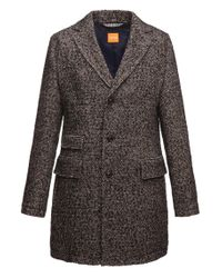 BOSS Orange Brown Short Coat 'barrets' In Salt-and-pepper Look for men