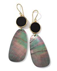 Ippolita   Metallic 18K Gold Ondine 2-Drop Earrings In Onyx/Black Shell   Lyst