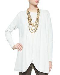 Eileen Fisher | White Silk Organic Cotton Interlock Cardigan | Lyst