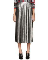 Loewe | Metallic Silver And Black Pleated Tea Skirt | Lyst