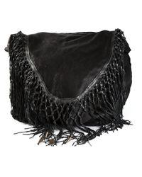 Le Cuir Perdu Black Fringed Shoulder Bag
