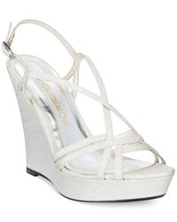 Caparros - Metallic Shiloh Platform Evening Wedge Sandals - Lyst