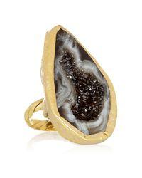 Dara Ettinger Black Sharon Goldplated Agate Geode Ring